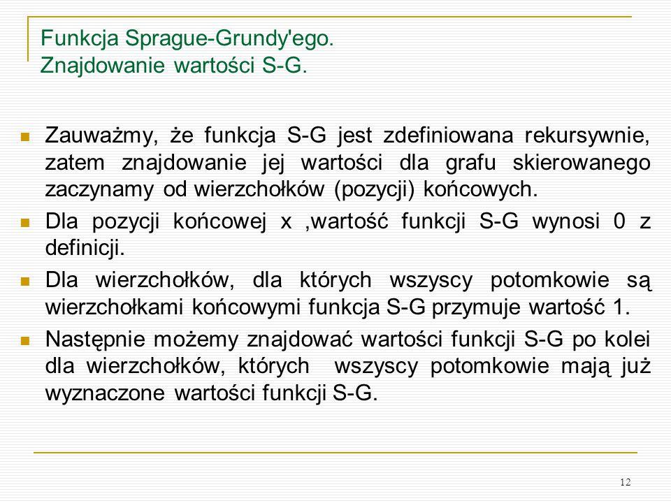 12 Funkcja Sprague-Grundy'ego. Znajdowanie wartości S-G. Zauważmy, że funkcja S-G jest zdefiniowana rekursywnie, zatem znajdowanie jej wartości dla gr