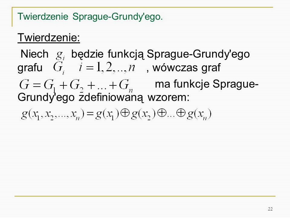 22 Twierdzenie Sprague-Grundy'ego. Twierdzenie: Niech będzie funkcją Sprague-Grundy'ego grafu, wówczas graf ma funkcje Sprague- Grundy'ego zdefiniowan