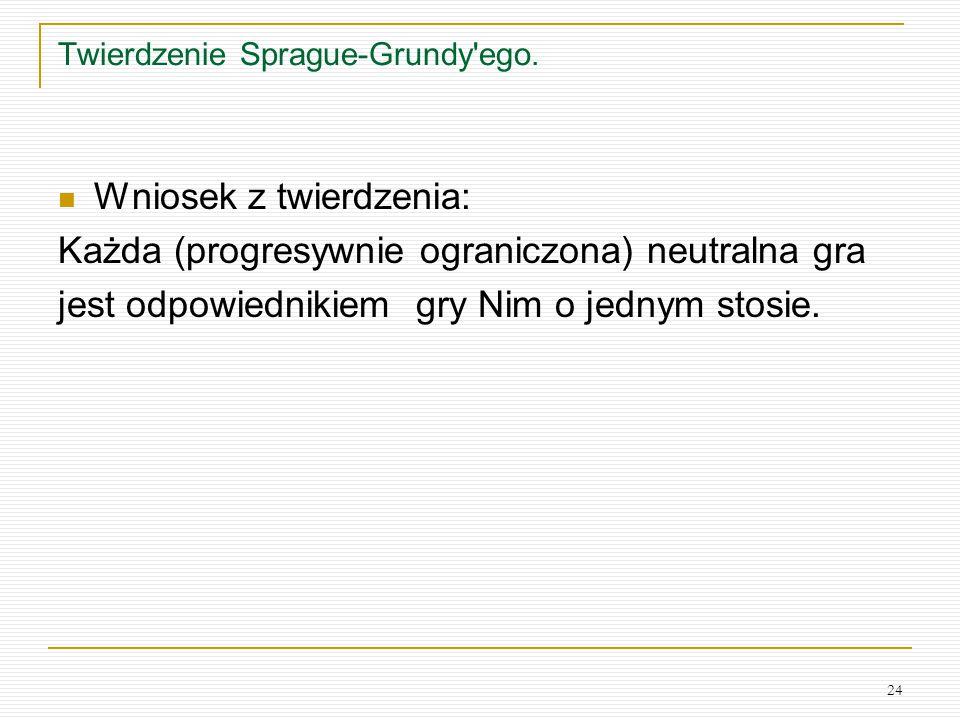 24 Twierdzenie Sprague-Grundy'ego. Wniosek z twierdzenia: Każda (progresywnie ograniczona) neutralna gra jest odpowiednikiem gry Nim o jednym stosie.