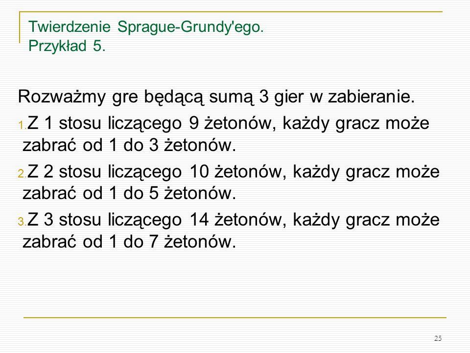 25 Twierdzenie Sprague-Grundy'ego. Przykład 5. Rozważmy gre będącą sumą 3 gier w zabieranie. 1. Z 1 stosu liczącego 9 żetonów, każdy gracz może zabrać