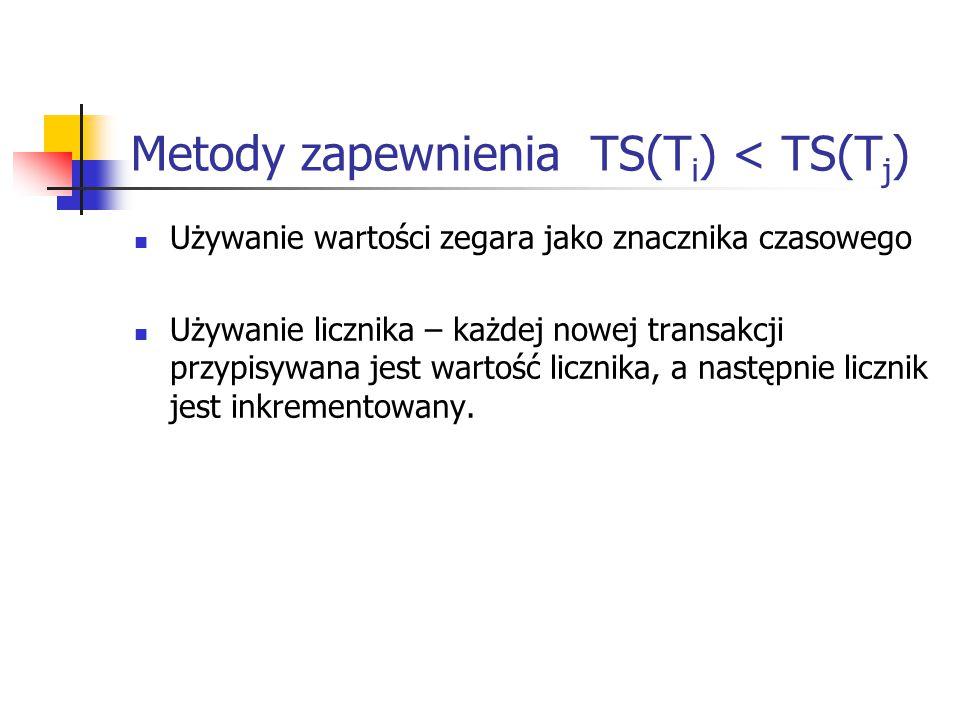 Metody zapewnienia TS(T i ) < TS(T j ) Używanie wartości zegara jako znacznika czasowego Używanie licznika – każdej nowej transakcji przypisywana jest wartość licznika, a następnie licznik jest inkrementowany.