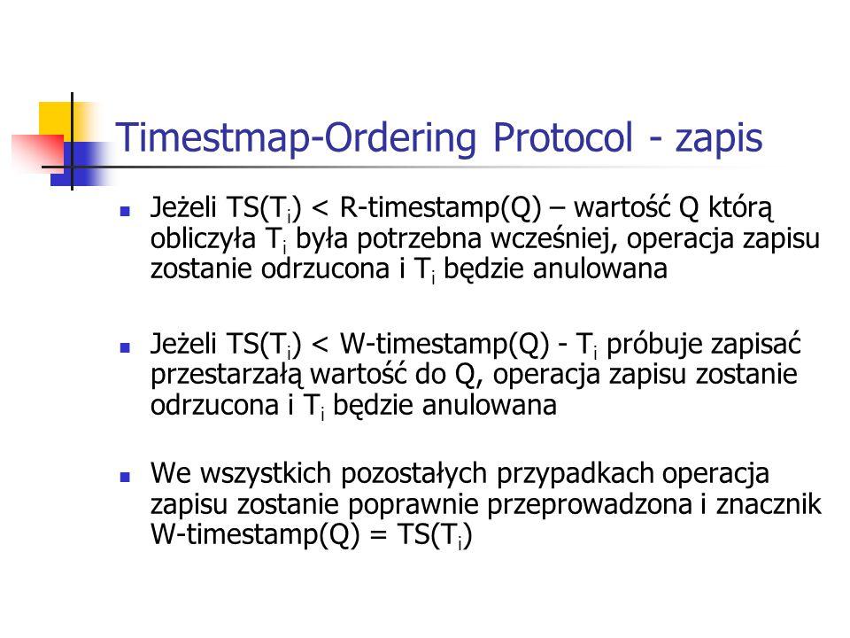 Timestmap-Ordering Protocol - zapis Jeżeli TS(T i ) < R-timestamp(Q) – wartość Q którą obliczyła T i była potrzebna wcześniej, operacja zapisu zostanie odrzucona i T i będzie anulowana Jeżeli TS(T i ) < W-timestamp(Q) - T i próbuje zapisać przestarzałą wartość do Q, operacja zapisu zostanie odrzucona i T i będzie anulowana We wszystkich pozostałych przypadkach operacja zapisu zostanie poprawnie przeprowadzona i znacznik W-timestamp(Q) = TS(T i )