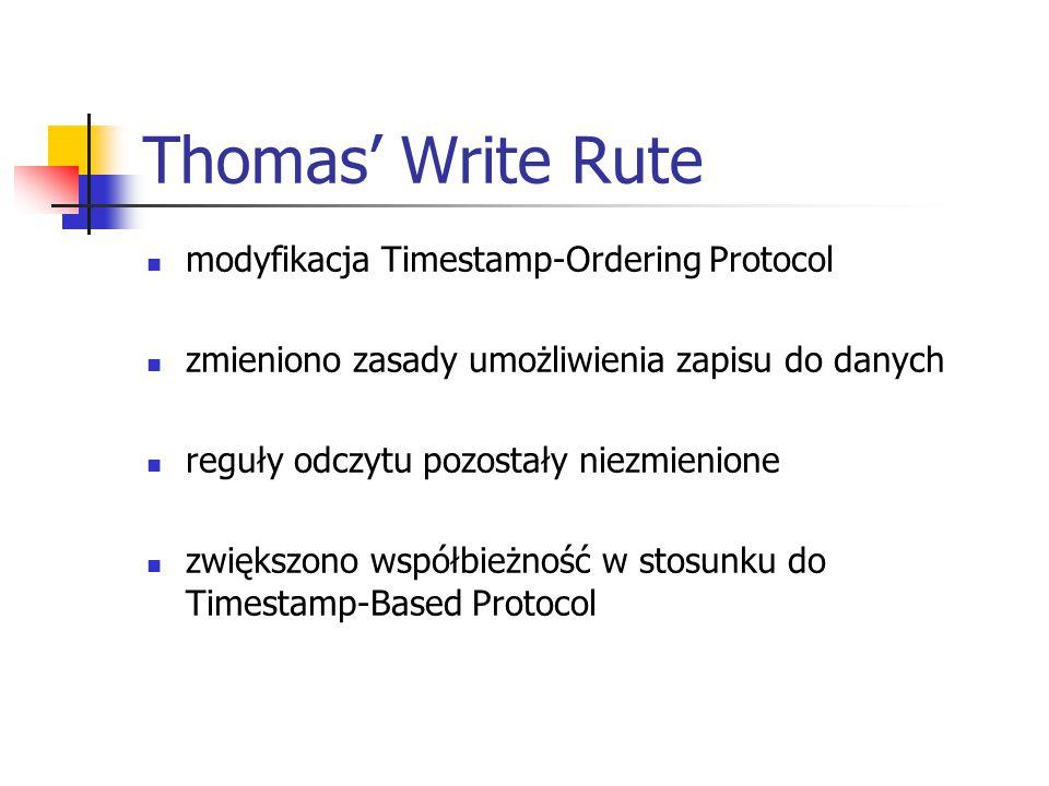 Thomas' Write Rute modyfikacja Timestamp-Ordering Protocol zmieniono zasady umożliwienia zapisu do danych reguły odczytu pozostały niezmienione zwiększono współbieżność w stosunku do Timestamp-Based Protocol