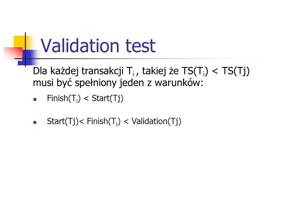 Validation test Dla każdej transakcji T i, takiej że TS(T i ) < TS(Tj) musi być spełniony jeden z warunków: Finish(T i ) < Start(Tj) Start(Tj)< Finish(T i ) < Validation(Tj)