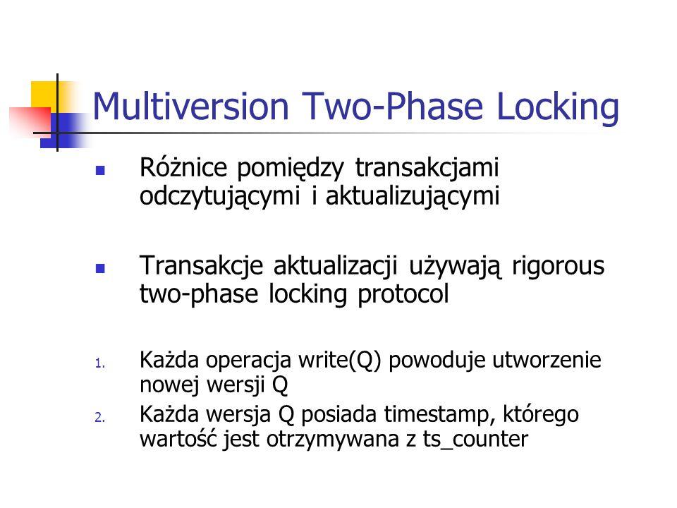 Multiversion Two-Phase Locking Różnice pomiędzy transakcjami odczytującymi i aktualizującymi Transakcje aktualizacji używają rigorous two-phase locking protocol 1.
