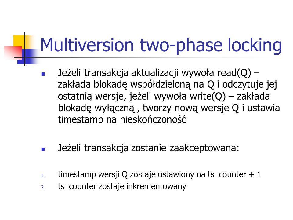 Multiversion two-phase locking Jeżeli transakcja aktualizacji wywoła read(Q) – zakłada blokadę współdzieloną na Q i odczytuje jej ostatnią wersje, jeżeli wywoła write(Q) – zakłada blokadę wyłączną, tworzy nową wersje Q i ustawia timestamp na nieskończoność Jeżeli transakcja zostanie zaakceptowana: 1.