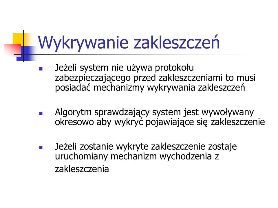 Wykrywanie zakleszczeń Jeżeli system nie używa protokołu zabezpieczającego przed zakleszczeniami to musi posiadać mechanizmy wykrywania zakleszczeń Algorytm sprawdzający system jest wywoływany okresowo aby wykryć pojawiające się zakleszczenie Jeżeli zostanie wykryte zakleszczenie zostaje uruchomiany mechanizm wychodzenia z zakleszczenia