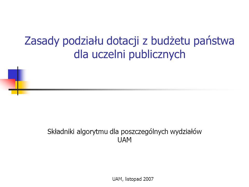 UAM, listopad 2007 Zasady podziału dotacji z budżetu państwa dla uczelni publicznych Składniki algorytmu dla poszczególnych wydziałów UAM