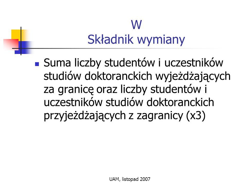 UAM, listopad 2007 W Składnik wymiany Suma liczby studentów i uczestników studiów doktoranckich wyjeżdżających za granicę oraz liczby studentów i ucze