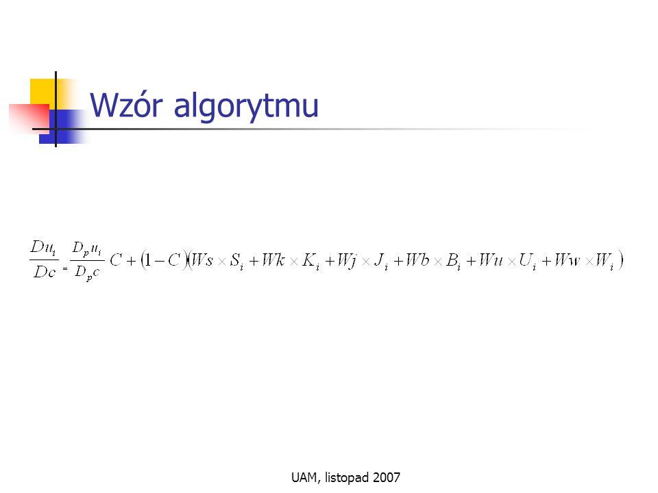 UAM, listopad 2007 Wzór algorytmu