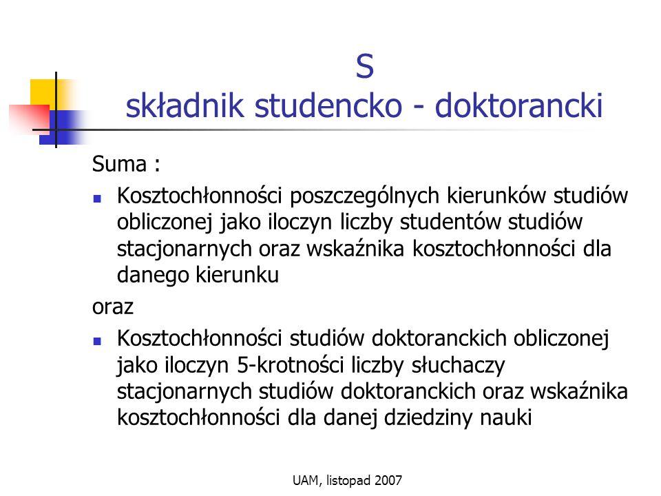 UAM, listopad 2007 S składnik studencko - doktorancki Suma : Kosztochłonności poszczególnych kierunków studiów obliczonej jako iloczyn liczby studentó