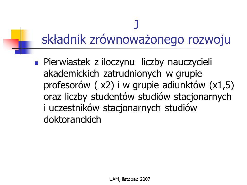 UAM, listopad 2007 J składnik zrównoważonego rozwoju Pierwiastek z iloczynu liczby nauczycieli akademickich zatrudnionych w grupie profesorów ( x2) i w grupie adiunktów (x1,5) oraz liczby studentów studiów stacjonarnych i uczestników stacjonarnych studiów doktoranckich