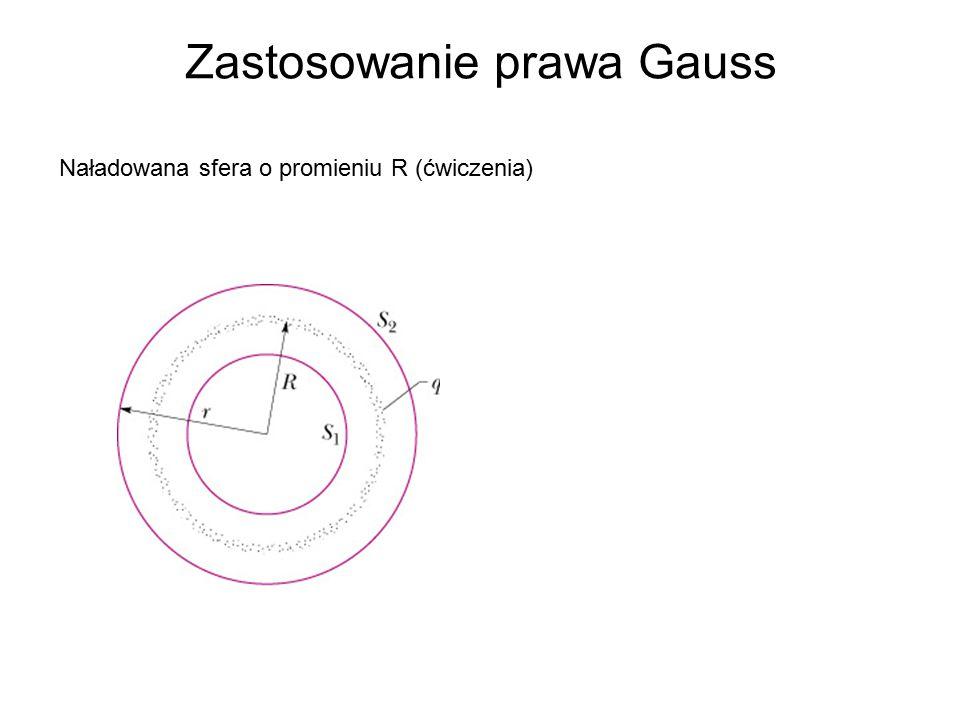 Zastosowanie prawa Gauss Naładowana sfera o promieniu R (ćwiczenia)