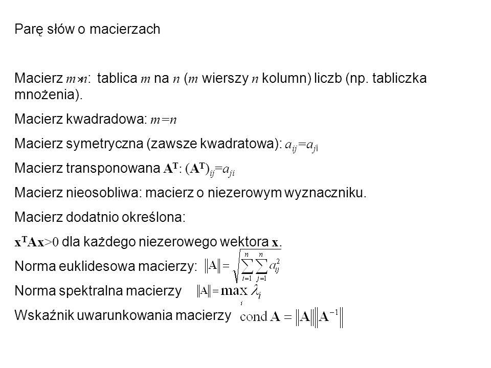 Parę słów o macierzach Macierz m  n : tablica m na n ( m wierszy n kolumn) liczb (np. tabliczka mnożenia). Macierz kwadradowa: m=n Macierz symetryczn
