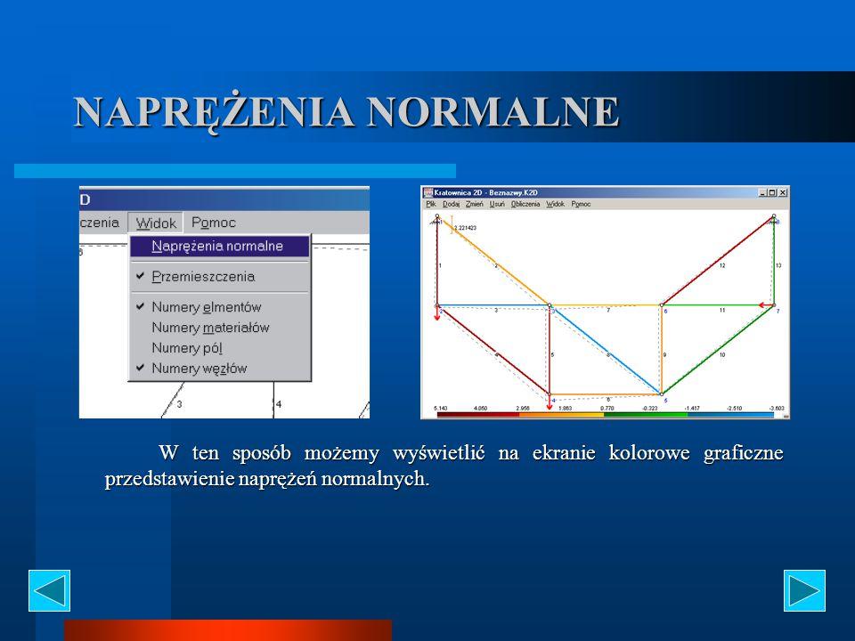 NAPRĘŻENIA NORMALNE W ten sposób możemy wyświetlić na ekranie kolorowe graficzne przedstawienie naprężeń normalnych.