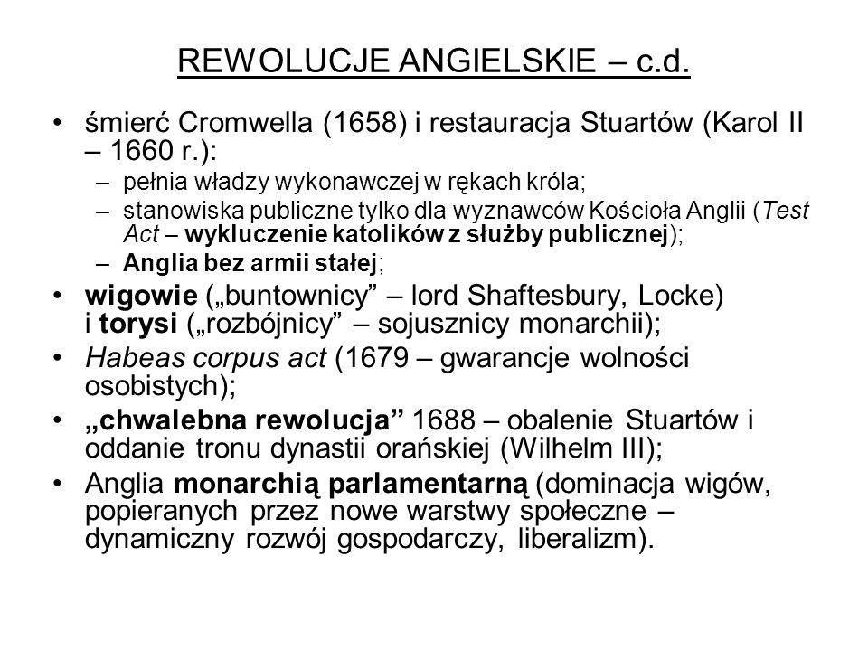 REWOLUCJE ANGIELSKIE – c.d.
