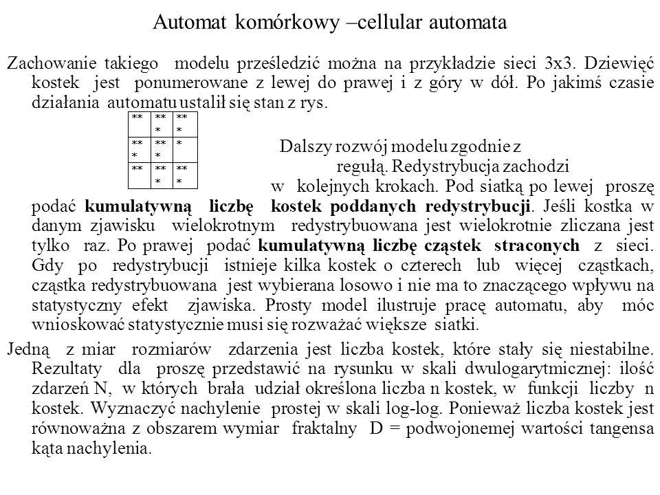 Automat komórkowy –cellular automata Zachowanie takiego modelu prześledzić można na przykładzie sieci 3x3. Dziewięć kostek jest ponumerowane z lewej d