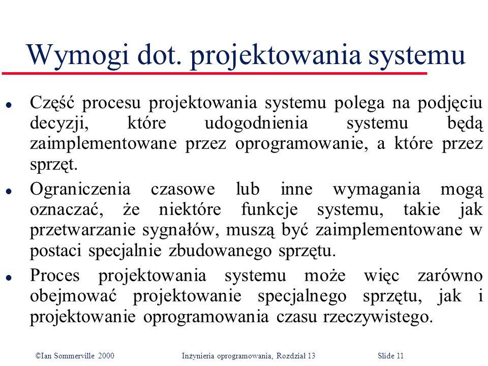 ©Ian Sommerville 2000 Inżynieria oprogramowania, Rozdział 13Slide 11 Wymogi dot. projektowania systemu l Część procesu projektowania systemu polega na