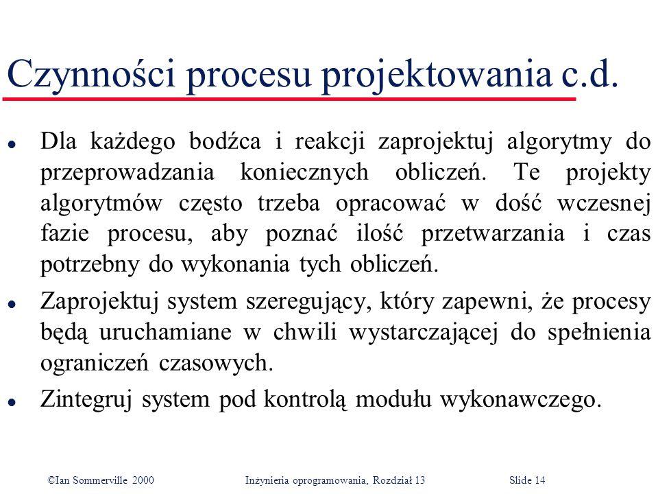 ©Ian Sommerville 2000 Inżynieria oprogramowania, Rozdział 13Slide 14 Czynności procesu projektowania c.d. l Dla każdego bodźca i reakcji zaprojektuj a