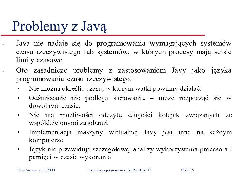 ©Ian Sommerville 2000 Inżynieria oprogramowania, Rozdział 13Slide 19 Problemy z Javą Java nie nadaje się do programowania wymagających systemów czasu