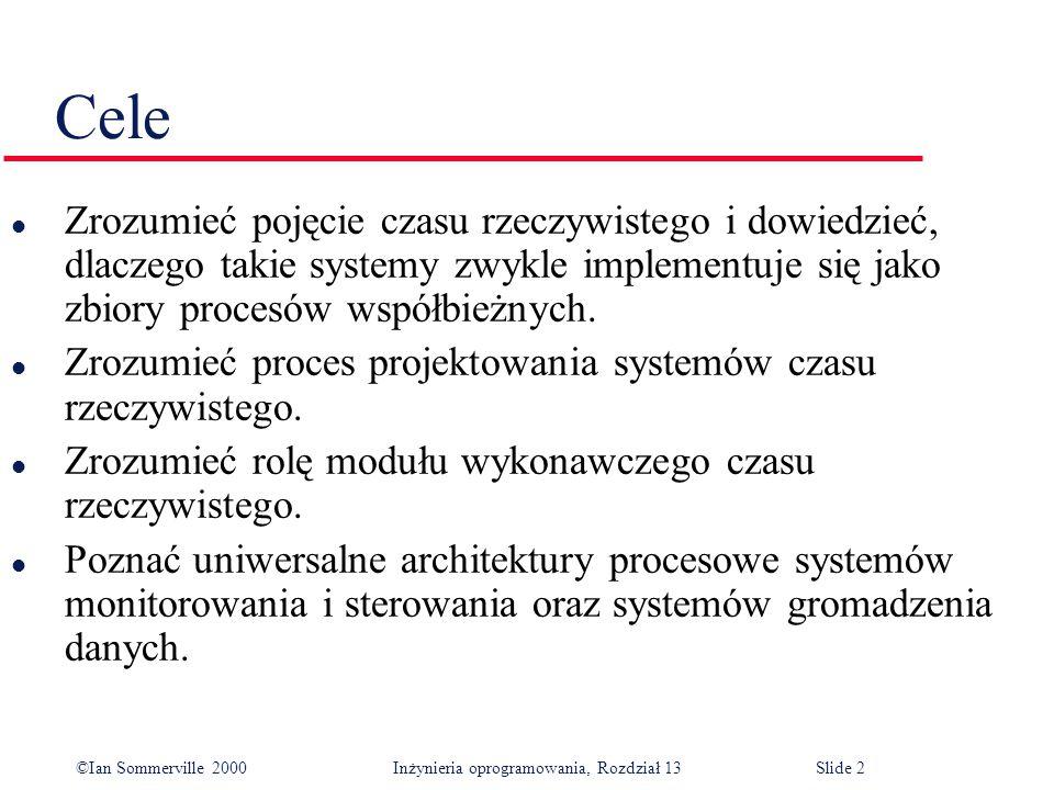 ©Ian Sommerville 2000 Inżynieria oprogramowania, Rozdział 13Slide 2 Cele l Zrozumieć pojęcie czasu rzeczywistego i dowiedzieć, dlaczego takie systemy