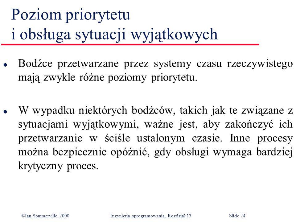 ©Ian Sommerville 2000 Inżynieria oprogramowania, Rozdział 13Slide 24 Poziom priorytetu i obsługa sytuacji wyjątkowych l Bodźce przetwarzane przez syst