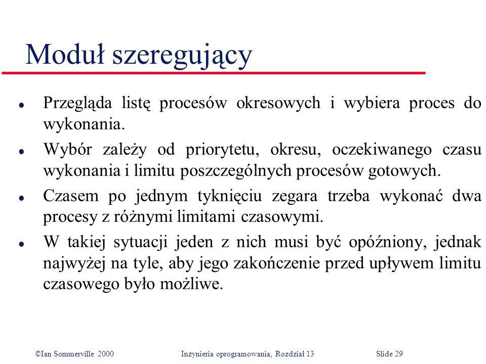 ©Ian Sommerville 2000 Inżynieria oprogramowania, Rozdział 13Slide 29 Moduł szeregujący l Przegląda listę procesów okresowych i wybiera proces do wykon