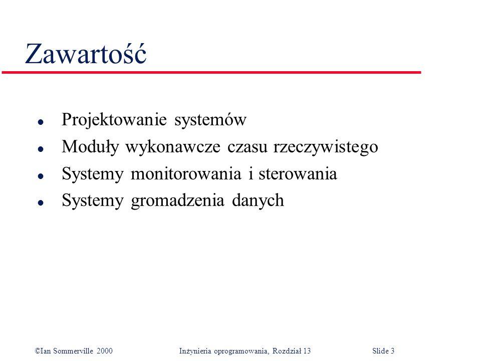 ©Ian Sommerville 2000 Inżynieria oprogramowania, Rozdział 13Slide 3 Zawartość l Projektowanie systemów l Moduły wykonawcze czasu rzeczywistego l Syste