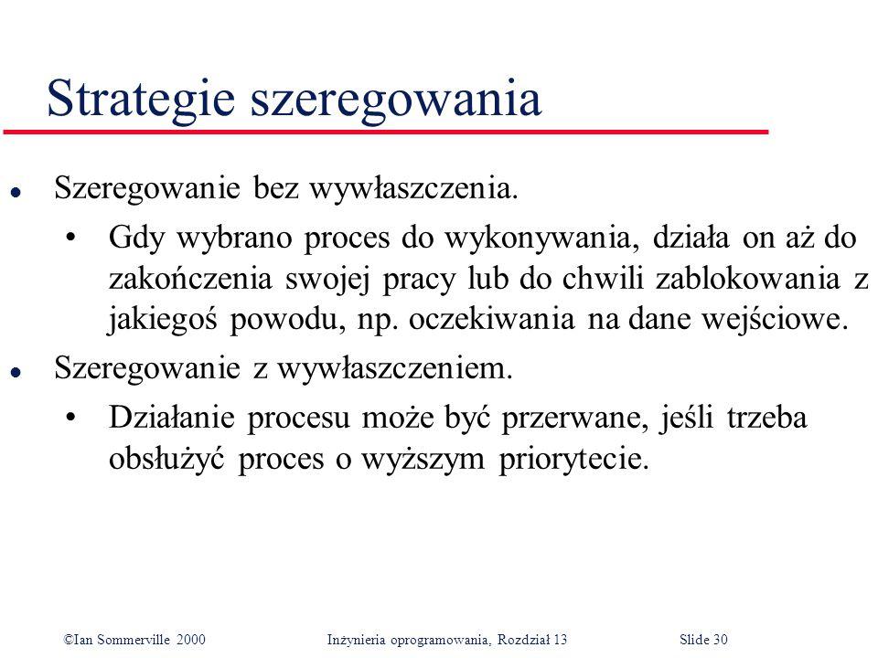 ©Ian Sommerville 2000 Inżynieria oprogramowania, Rozdział 13Slide 30 Strategie szeregowania l Szeregowanie bez wywłaszczenia. Gdy wybrano proces do wy
