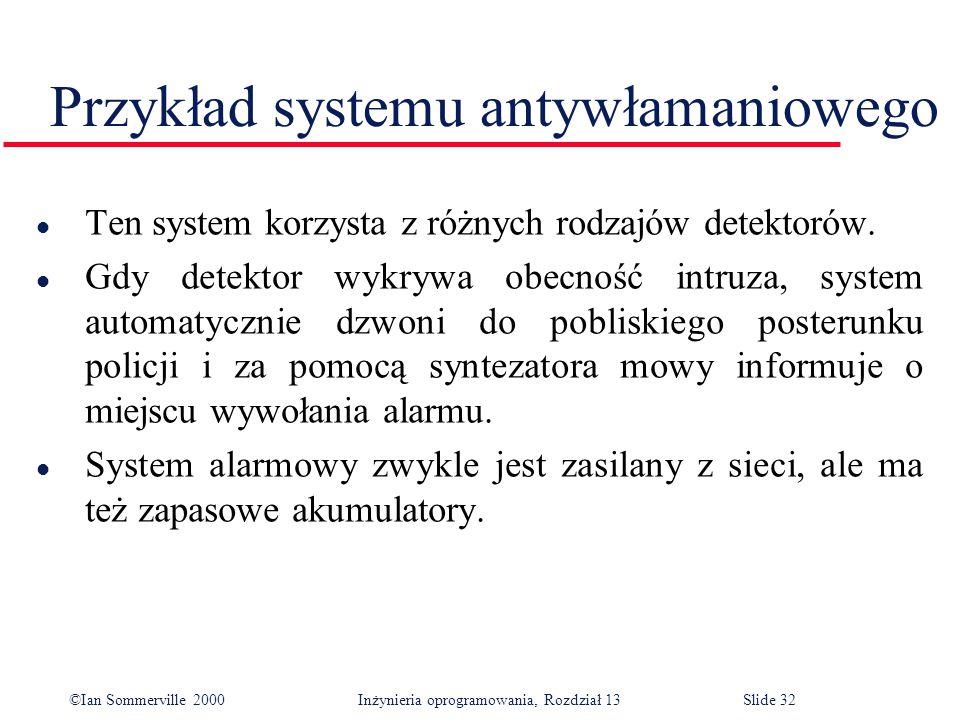 ©Ian Sommerville 2000 Inżynieria oprogramowania, Rozdział 13Slide 32 Przykład systemu antywłamaniowego l Ten system korzysta z różnych rodzajów detekt