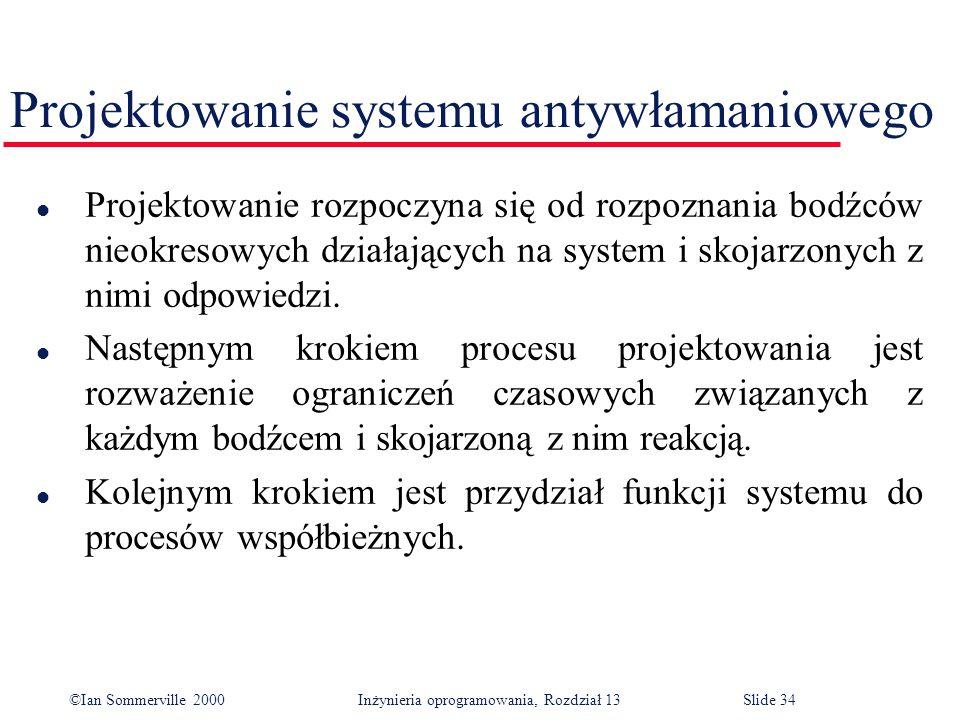 ©Ian Sommerville 2000 Inżynieria oprogramowania, Rozdział 13Slide 34 Projektowanie systemu antywłamaniowego l Projektowanie rozpoczyna się od rozpozna