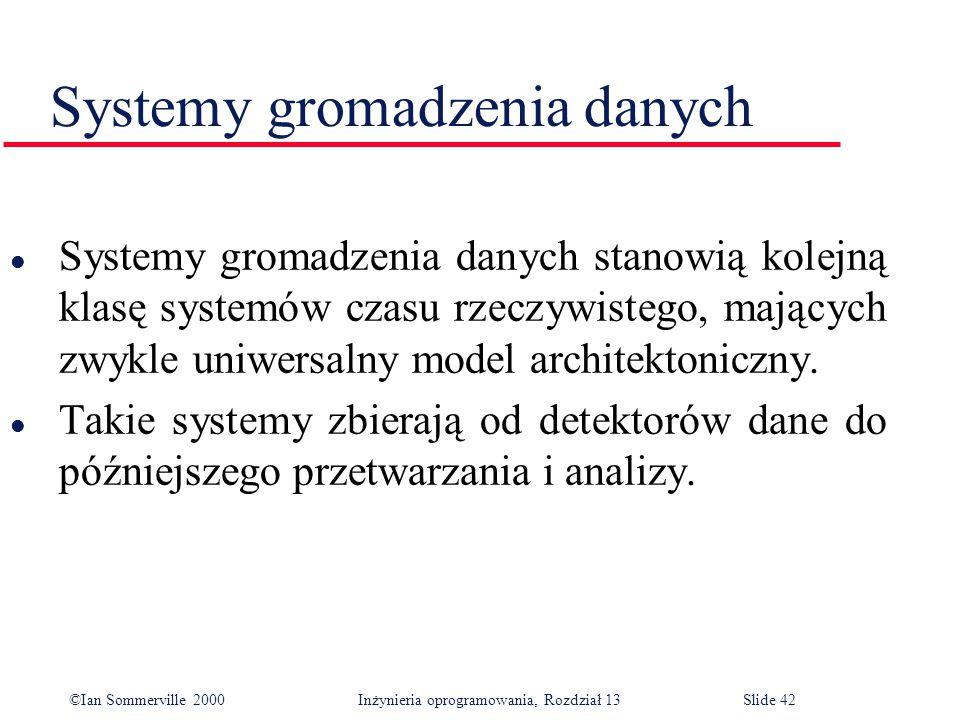 ©Ian Sommerville 2000 Inżynieria oprogramowania, Rozdział 13Slide 42 Systemy gromadzenia danych l Systemy gromadzenia danych stanowią kolejną klasę sy