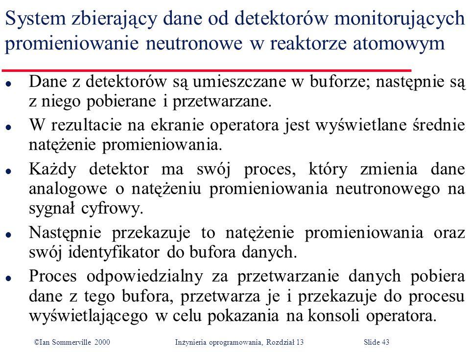 ©Ian Sommerville 2000 Inżynieria oprogramowania, Rozdział 13Slide 43 System zbierający dane od detektorów monitorujących promieniowanie neutronowe w r