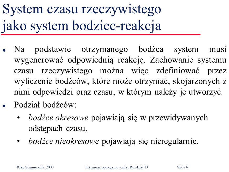 ©Ian Sommerville 2000 Inżynieria oprogramowania, Rozdział 13Slide 7 Architektura systemu czasu rzeczywistego l System czasu rzeczywistego musi reagować na bodźce pojawiające się w różnych chwilach.