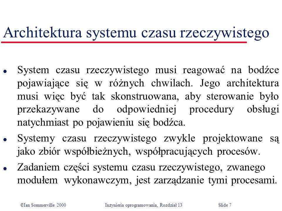 ©Ian Sommerville 2000 Inżynieria oprogramowania, Rozdział 13Slide 18 Programowanie czasu rzeczywistego l Język programowania użyty do implementacji systemu czasu rzeczywistego również może mieć wpływ na projekt.