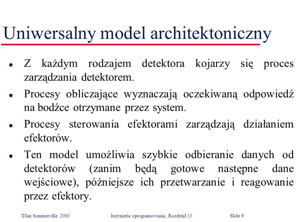 ©Ian Sommerville 2000 Inżynieria oprogramowania, Rozdział 13Slide 40 Przykład systemu sterowania l System antywłamaniowy jest systemem monitorowania, a nie systemem sterowania, ponieważ nie zawiera efektorów będących pod bezpośrednim wpływem stanu detektorów.