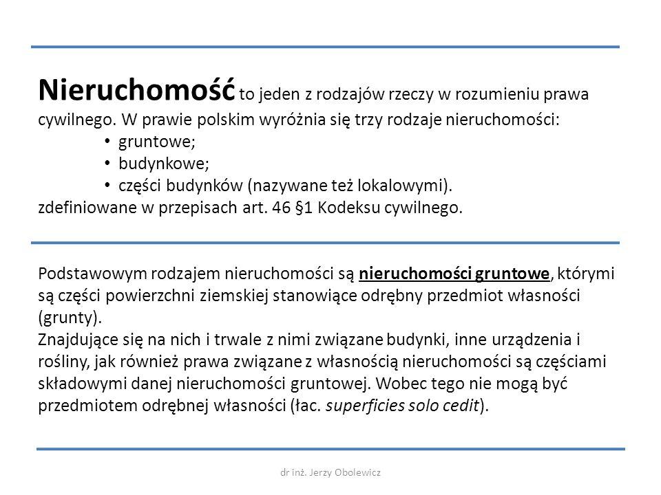 Nieruchomość to jeden z rodzajów rzeczy w rozumieniu prawa cywilnego. W prawie polskim wyróżnia się trzy rodzaje nieruchomości: gruntowe; budynkowe; c
