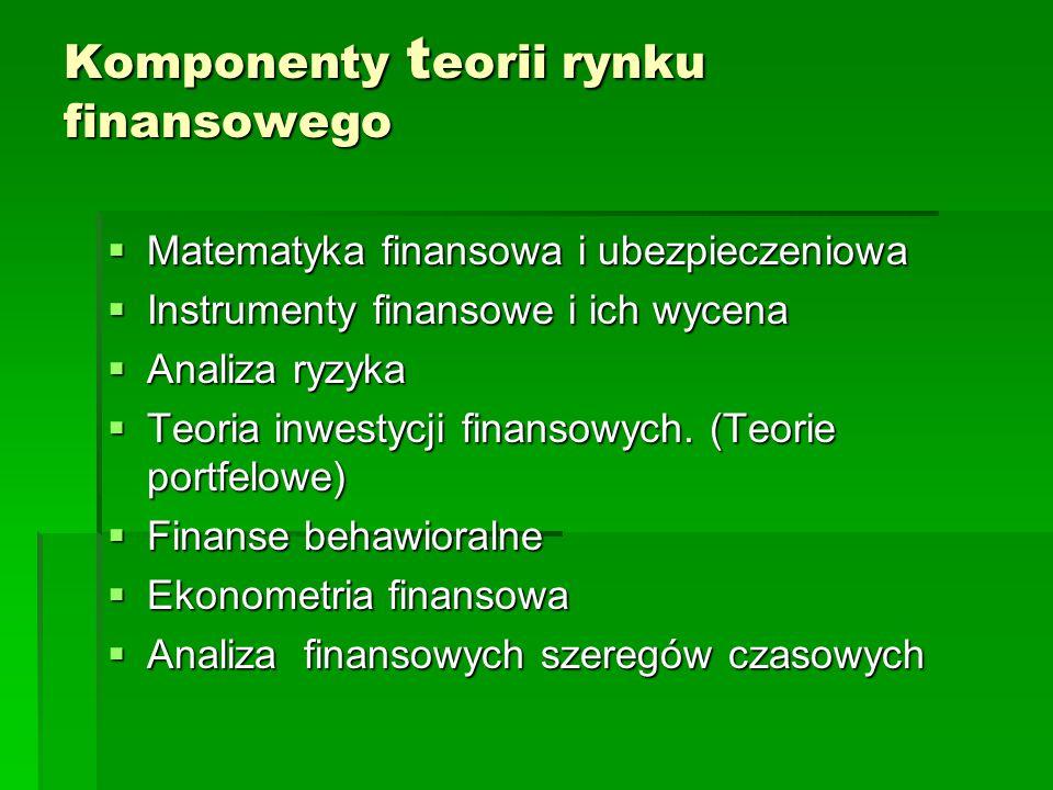 Komponenty t eorii rynku finansowego  Matematyka finansowa i ubezpieczeniowa  Instrumenty finansowe i ich wycena  Analiza ryzyka  Teoria inwestycj