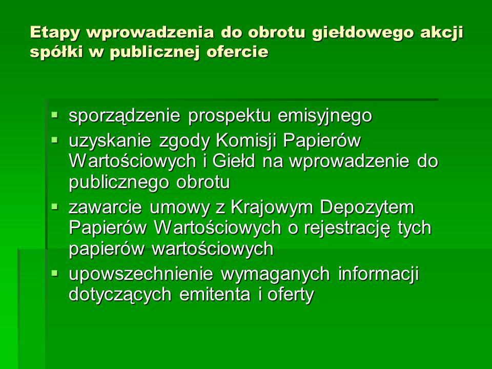 Etapy wprowadzenia do obrotu giełdowego akcji spółki w publicznej ofercie  sporządzenie prospektu emisyjnego  uzyskanie zgody Komisji Papierów Warto