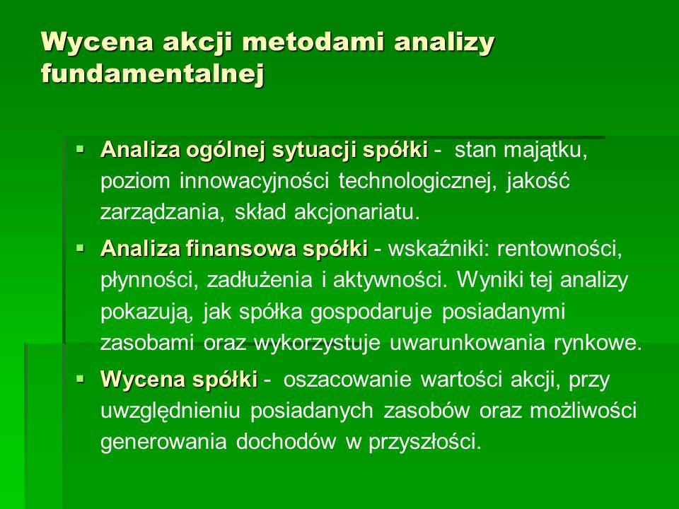 Wycena akcji metodami analizy fundamentalnej  Analiza ogólnej sytuacji spółki  Analiza ogólnej sytuacji spółki - stan majątku, poziom innowacyjności
