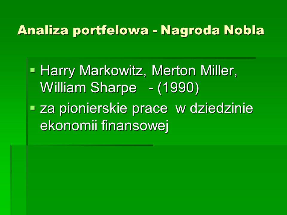 Analiza portfelowa - Nagroda Nobla  Harry Markowitz, Merton Miller, William Sharpe - (1990)  za pionierskie prace w dziedzinie ekonomii finansowej