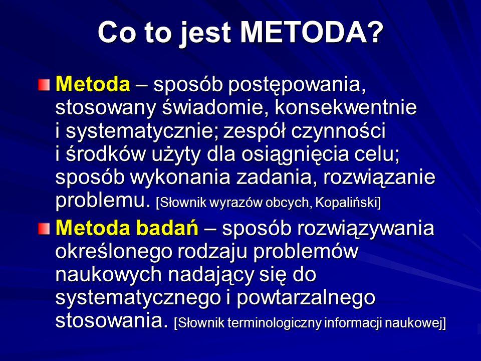 Co to jest METODA? Metoda – sposób postępowania, stosowany świadomie, konsekwentnie i systematycznie; zespół czynności i środków użyty dla osiągnięcia