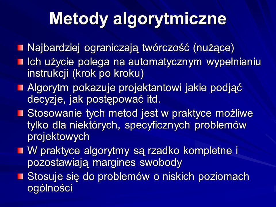 Metody algorytmiczne Najbardziej ograniczają twórczość (nużące) Ich użycie polega na automatycznym wypełnianiu instrukcji (krok po kroku) Algorytm pok