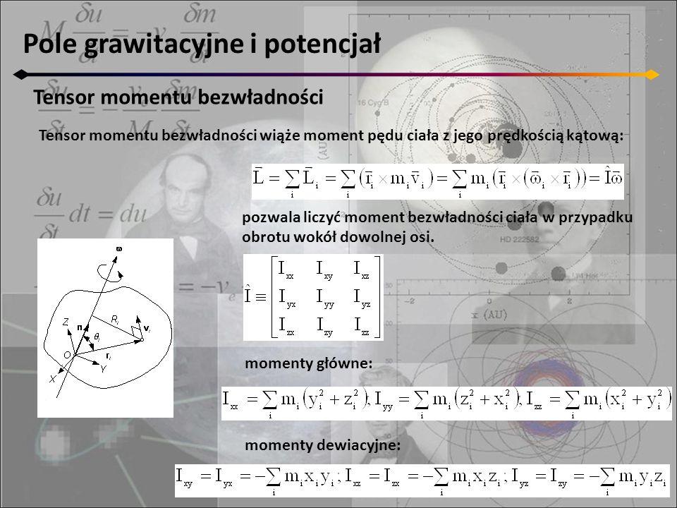 Pole grawitacyjne i potencjał Tensor momentu bezwładności Tensor momentu bezwładności wiąże moment pędu ciała z jego prędkością kątową: pozwala liczyć moment bezwładności ciała w przypadku obrotu wokół dowolnej osi.