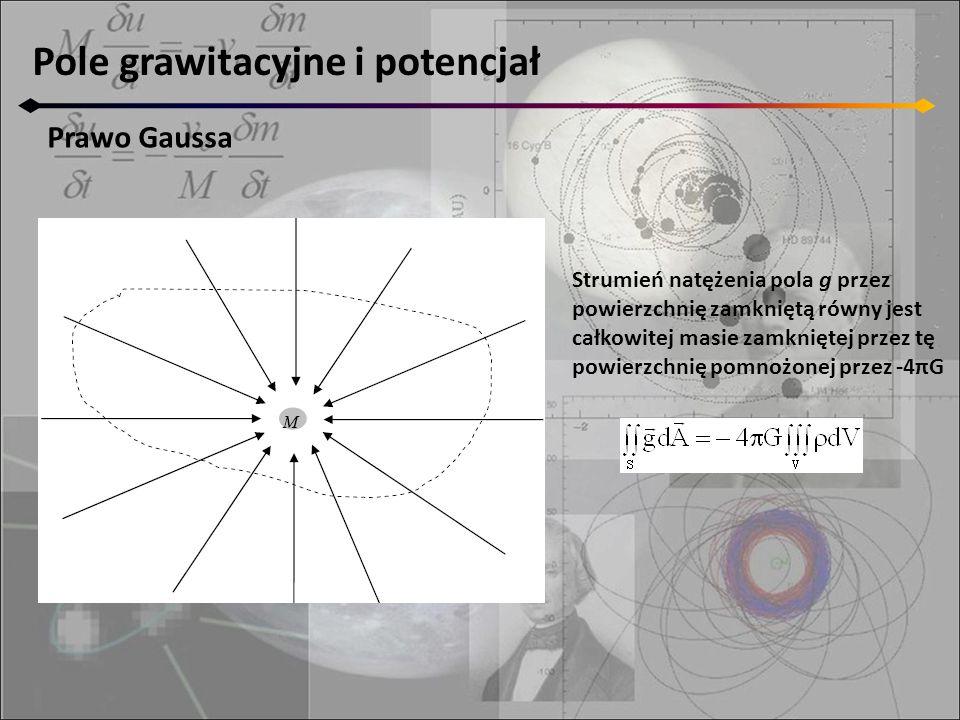 Pole grawitacyjne i potencjał Prawo Gaussa Strumień natężenia pola g przez powierzchnię zamkniętą równy jest całkowitej masie zamkniętej przez tę powierzchnię pomnożonej przez -4πG