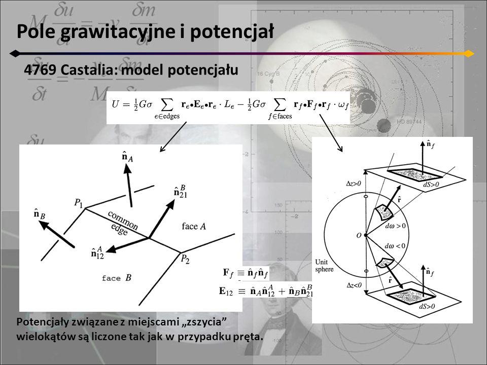 """Pole grawitacyjne i potencjał 4769 Castalia: model potencjału Potencjały związane z miejscami """"zszycia wielokątów są liczone tak jak w przypadku pręta."""
