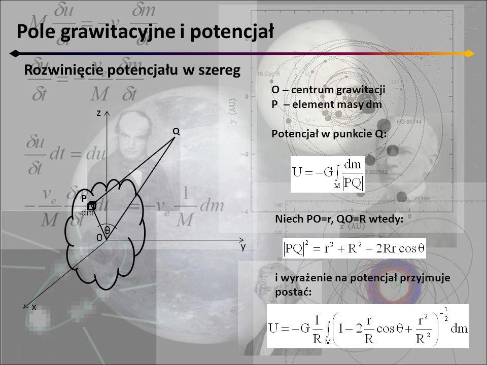 Pole grawitacyjne i potencjał Rozwinięcie potencjału w szereg O – centrum grawitacji P – element masy dm Potencjał w punkcie Q: Niech PO=r, QO=R wtedy: i wyrażenie na potencjał przyjmuje postać: z y x 0 P dm θ Q
