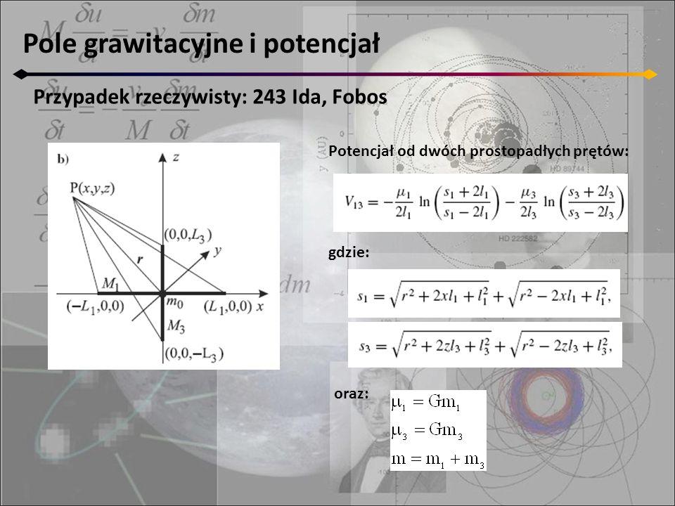 Pole grawitacyjne i potencjał Przypadek rzeczywisty: 243 Ida, Fobos Potencjał od dwóch prostopadłych prętów: gdzie: oraz: