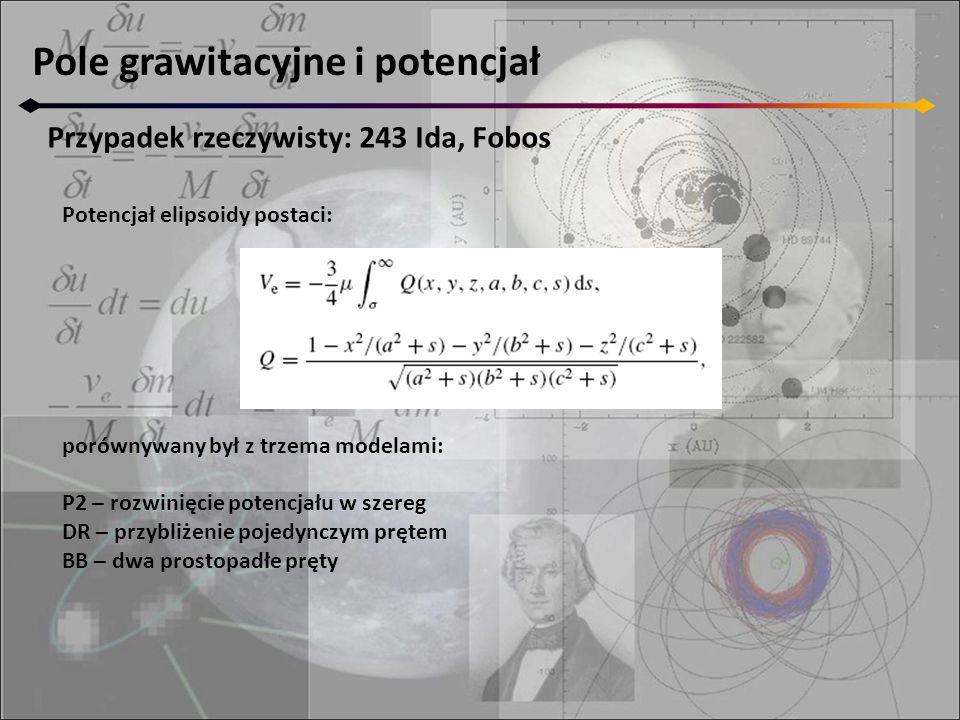Pole grawitacyjne i potencjał Przypadek rzeczywisty: 243 Ida, Fobos Potencjał elipsoidy postaci: porównywany był z trzema modelami: P2 – rozwinięcie potencjału w szereg DR – przybliżenie pojedynczym prętem BB – dwa prostopadłe pręty