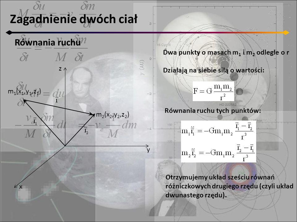 Równania ruchu z y x m 2 (x 2,y 2,z 2 ) m 1 (x 1,y 1,z 1 ) Dwa punkty o masach m 1 i m 2 odległe o r Działają na siebie siłą o wartości: Równania ruchu tych punktów: Otrzymujemy układ sześciu równań różniczkowych drugiego rzędu (czyli układ dwunastego rzędu).